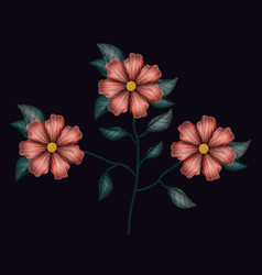 colorful geranium flowers plant set embroidery in vector image vector image