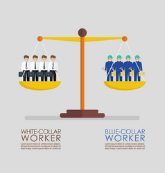 Comparison between white and blue collar workers vector