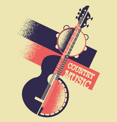 country music background with musical instruments vector image