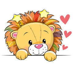 Cute cartoon lion with hearts vector