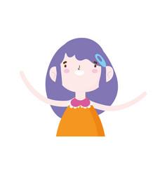 cute little girl happy cartoon character portrait vector image