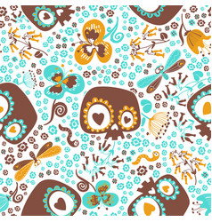 Cute seamless pattern with silhouettes of cartoon vector