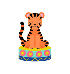 Cute tiger cub sitting on stage funny animal vector