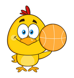 cute yellow chick holding a basketball vector image