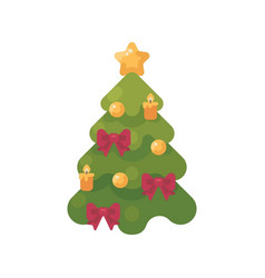 decorated christmas tree flat icon vector image
