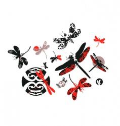 Decorative dragonflies vector