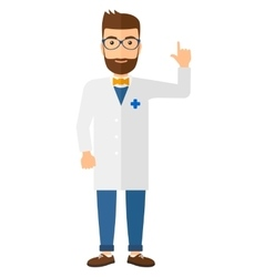 Doctor showing finger up vector