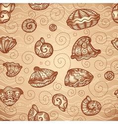 Doodle seashells vintage pattern vector