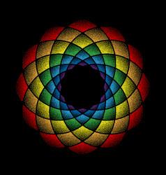 Dots mandala rainbow on black vector
