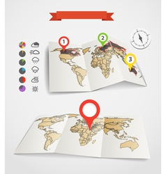 Earth maps set with weather icons vector