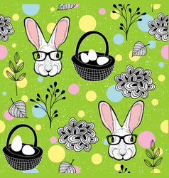 Easter rabbits and eggs vector