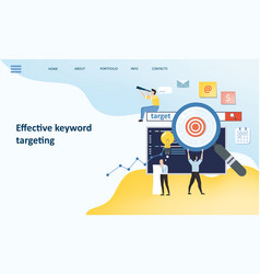 effective keyword targeting tools mockup landing vector image
