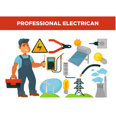 electrician profession infographics poster vector image