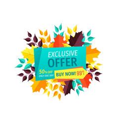 Exclusive offer buy now autumn vector