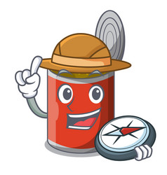 Explorer canned food on the table cartoon vector