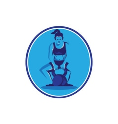 Female Trainer Lifting Kettleball Circle Retro vector image