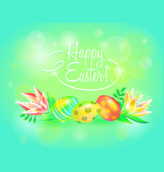 festive 3d ground happy easter easter vector image