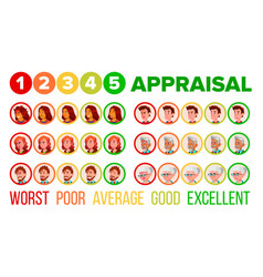 Five steps mood appraisal icons set vector