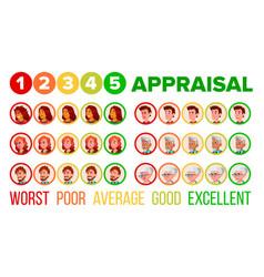 five steps mood appraisal icons set vector image