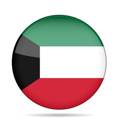 flag of kuwait shiny round button vector image