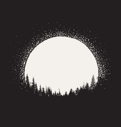 Forest silhouette on moonrise background vector