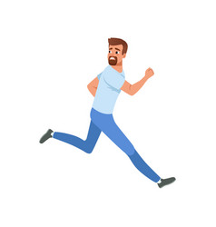 Frightened bearded man running away looking back vector