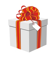 Gift box with red and golden ribbon vector image