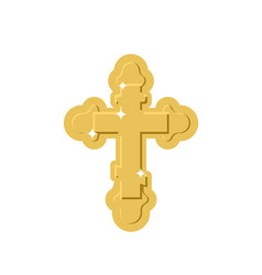 Golden cross isolated orthodox symbol of gold vector