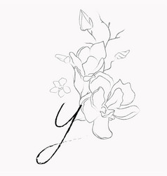 Handwritten line drawing floral logo monogram y vector