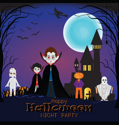 happy halloween night with different monster vector image