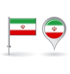 Iranian pin icon and map pointer flag vector