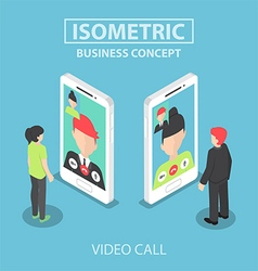 Isometric businessman make video call vector image