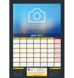 July 2017 Wall Calendar for 2017 Year vector