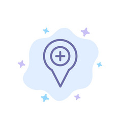 Location map navigation pin plus blue icon on vector