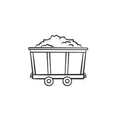 mining trolley with coal hand drawn outline doodle vector image