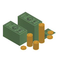 money banknote and coin icon isometric style vector image