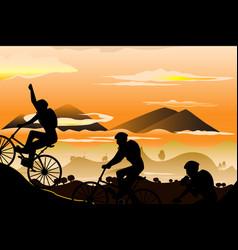 mountain biking vector image