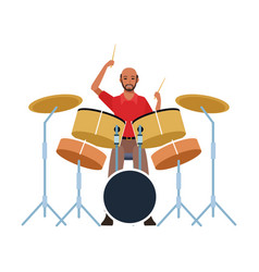 Musician playing drums set colorful flat design vector