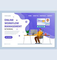 online workflow management website landing page vector image