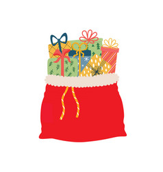 Open red bag full christmas presents vector
