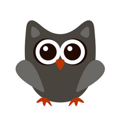 Owl funny stylized icon symbol gray colors vector