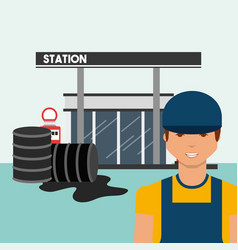 Petrol station with worker and oil spill industry vector