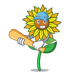 Playing baseball sunflower character cartoon style vector