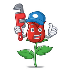 Plumber red rose mascot cartoon vector