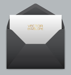 Realistic black envelope with white card inside vector