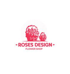 roses in a straw basket emblem vector image