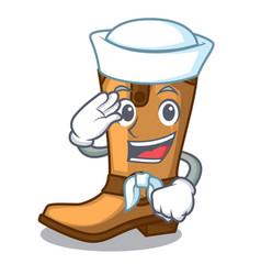 Sailor cowboy boots in the shape cartoon vector