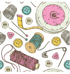 Seamless pattern sewing supplies and accessories vector