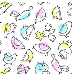 seamless pattern with abstract cute birds simple vector image