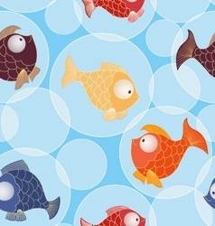 Seamless pattern with little gold and color fishes vector